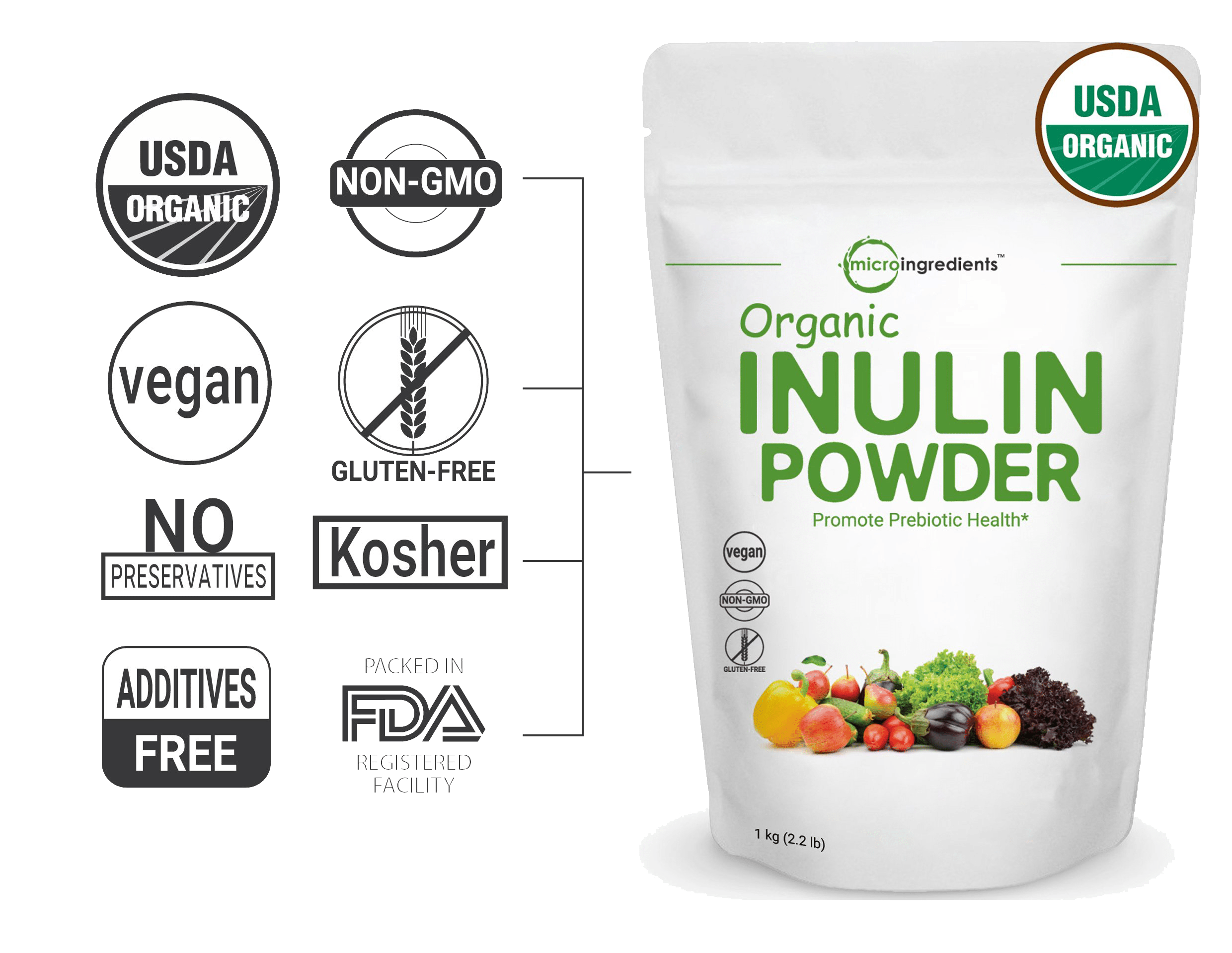 MicroIngredients Organic Inulin Powder