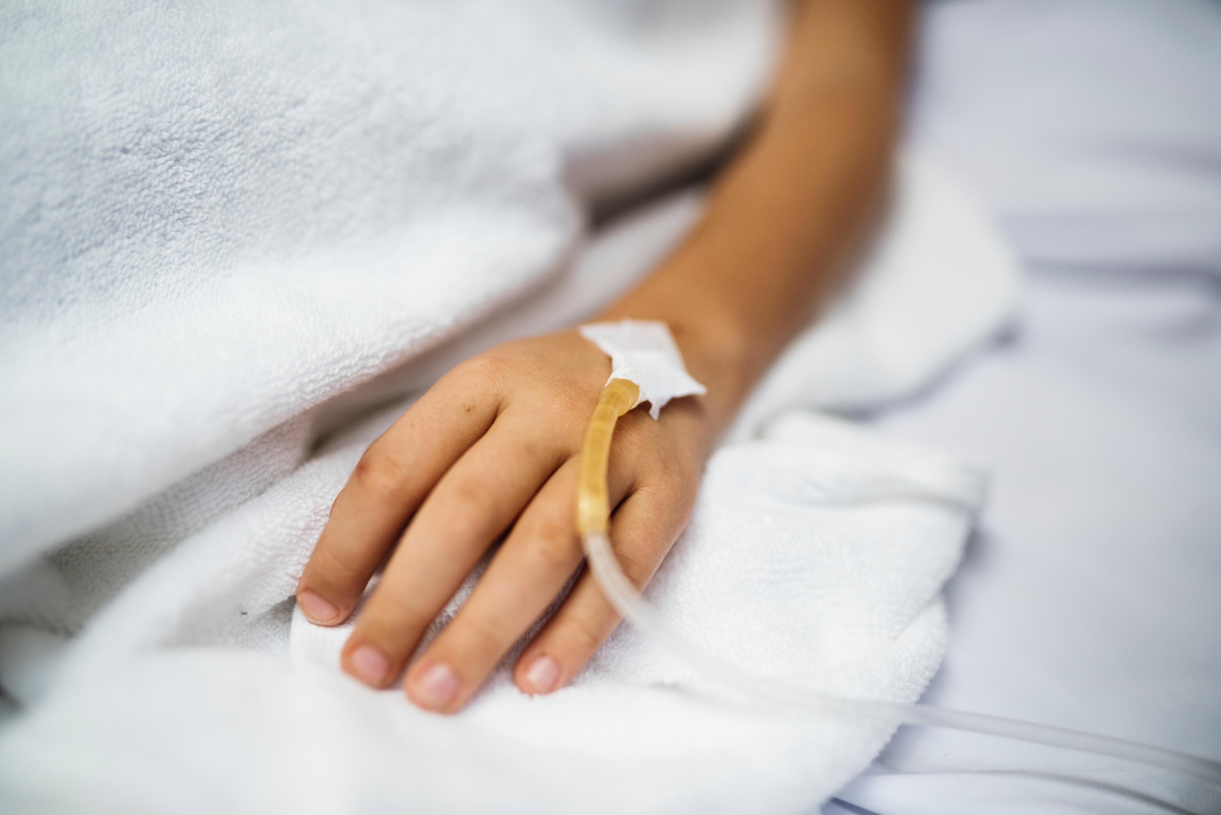 Iv Drip Injecting Human Arm Human Hand