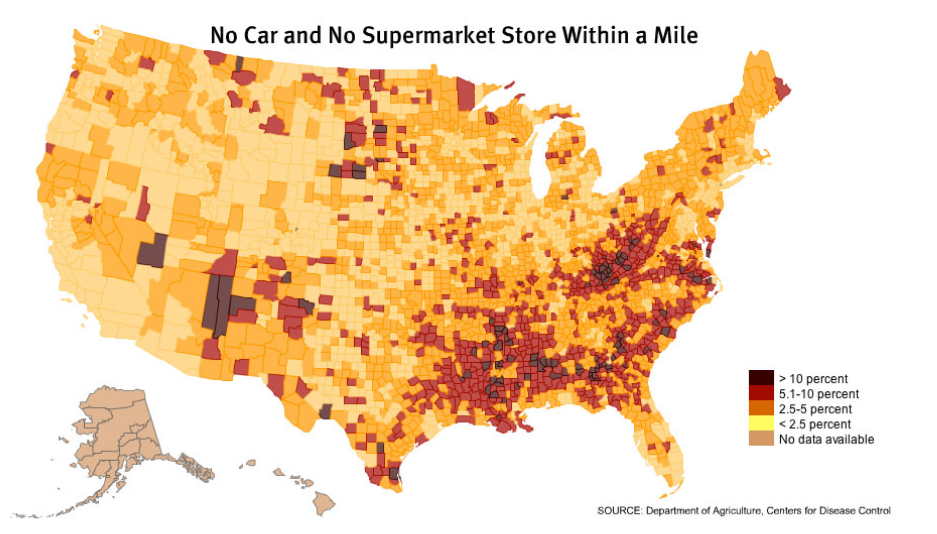 CDC map, by county, of the areas of the US at risk for experiencing food deserts