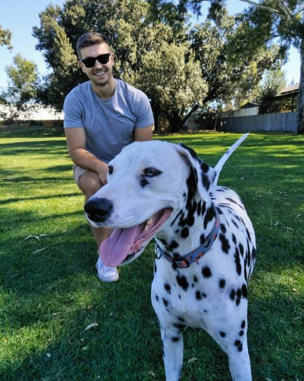 Hunter with his dalmation, Evie