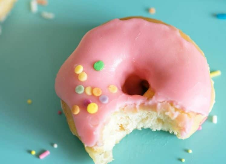 Pink baked donut