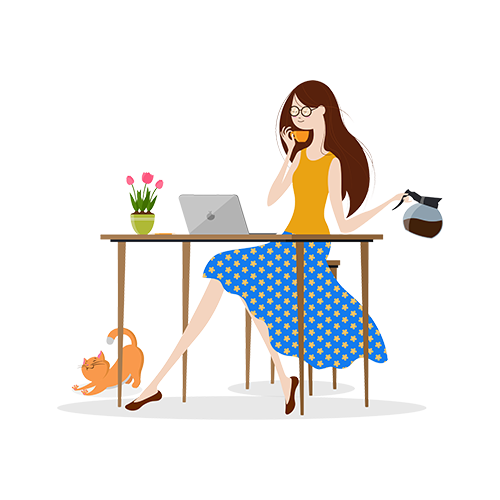 Illustration of a woman drinking coffee while working in front of a laptop
