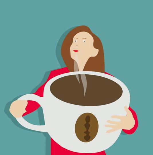 Cartoon of woman holding large cup of coffee