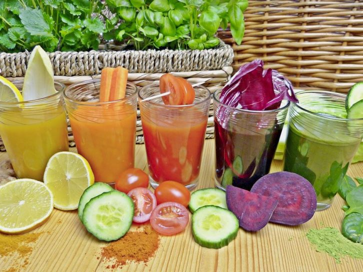 Brightly colored juices