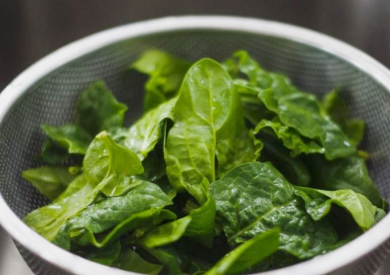 Fresh iron-rich spinach in a metal strainer