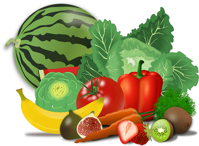 Fruits and vegetables like banana and figs will guide the author to thinking of foods high in fiber. We see tomatoes, peppers, kiwis and other greens. Image provokes healthy eating ideas and reminders.
